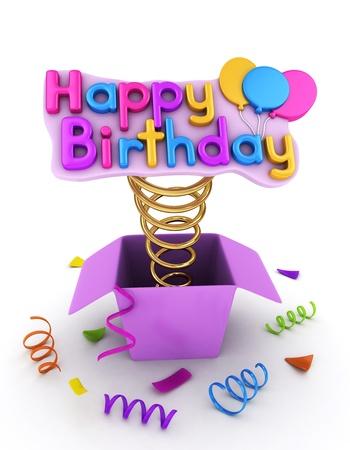 팝업 생일 축하 메시지가있는 선물 상자의 3D 일러스트 스톡 콘텐츠