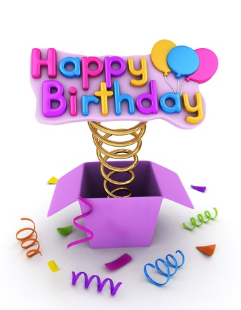3D Illustration of a Gift Box with a Pop-up Happy Birthday Message Imagens