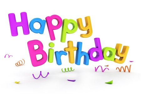 happy birthday text: 3D Text Featuring the Words Happy Birthday Stock Photo