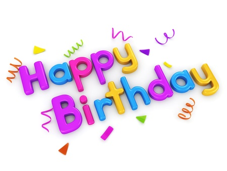 featuring: 3D Typography Featuring the Words Happy Birthday Stock Photo