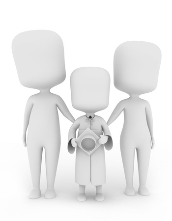 3D Illustration of a Child Graduate Posing with His Family illustration