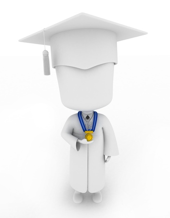 commencement exercises: 3D Illustration of a Graduate Proudly Showing His Medal Stock Photo
