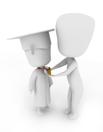 commencement exercises: 3D Illustration of a Teacher Placing a Medal on a Childs Neck Stock Photo