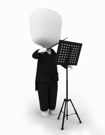 3D Illustration of a Music Conductor illustration