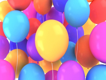 bash: 3D Illustration of Colorful Balloons Stock Photo