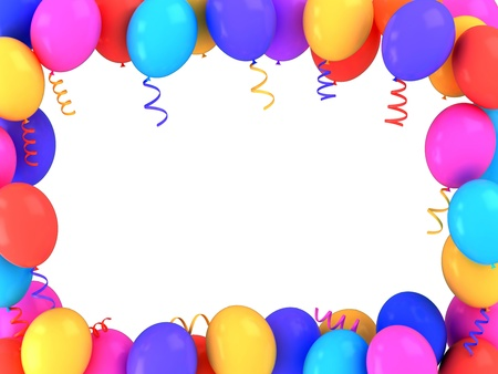 3D Illustration of Colorful Balloons Frame illustration