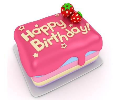 torta compleanno: Illustrazione 3D di una torta di compleanno Archivio Fotografico