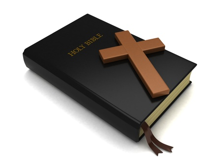 bible: 3D Illustration of a Bible and a Cross
