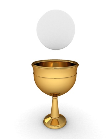 grail: 3D Illustration of a Chalice with a HostHostia