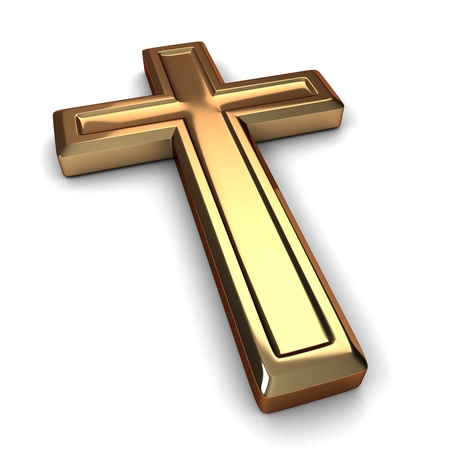 3D Illustration of a Gilded Cross Stock Illustration - 9648893