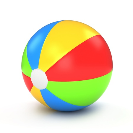 3d ball: 3D Illustration of a Colorful Beach Ball Stock Photo