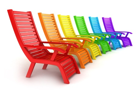 3D Illustration of Colorful Beach Chairs illustration