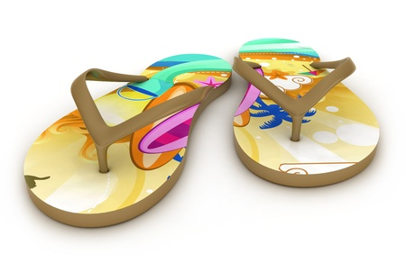slipper: 3D Illustration of Colorful Flip-flops