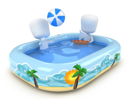 3D Illustration of Kids playing in a Pool