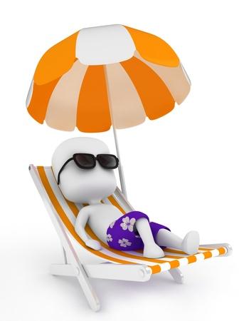 silla playa: Ilustraci�n 3D de un hombre tranquilo en una silla de playa