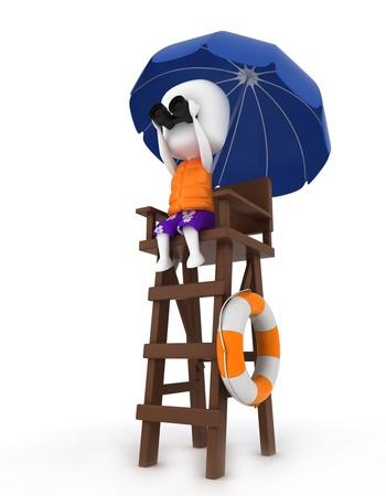 3D Illustration of a Lifeguard looking through Binoculars illustration
