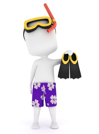 guy on beach: 3D Illustration of a Man Wearing Snorkeling Gear