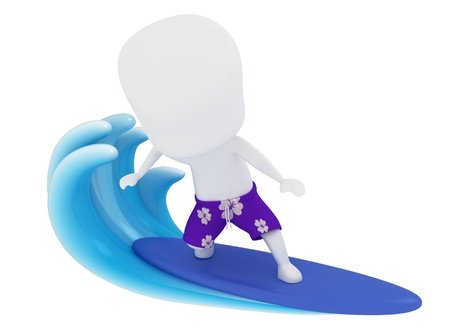 board shorts: 3D Illustration of a Man Surfing on Water Stock Photo