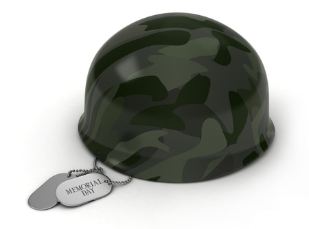 3D Illustration of a Military Helmet and Dog Tags illustration