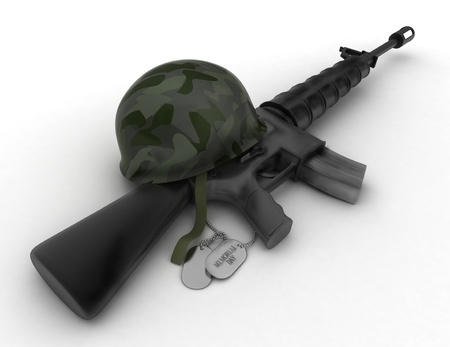 3D Illustration of a Rifle, Military Helmet, and Dog Tag illustration