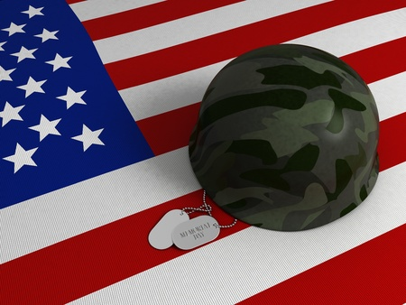 3D Illustration of a US Flag, Military Helmet, and Dog Tags illustration