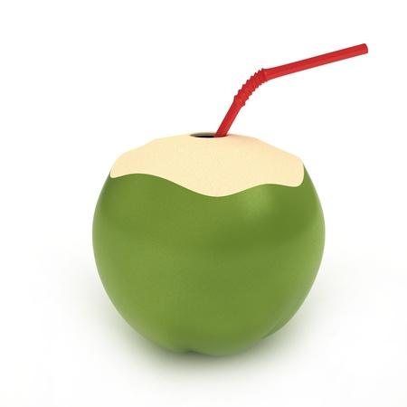holgaz�n: Ilustraci�n 3D de una bebida de coco Foto de archivo