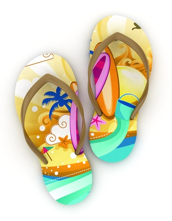 3D Illustration of Colorful Flip-flops illustration