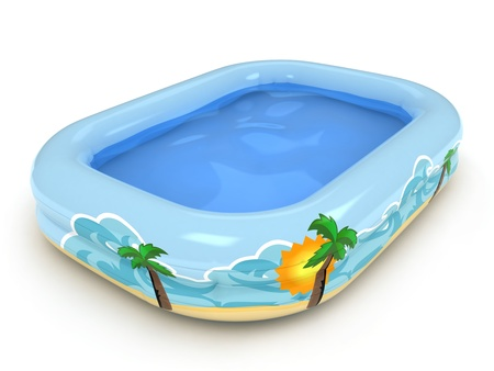 cool down: 3D Illustration of an Inflatable Pool