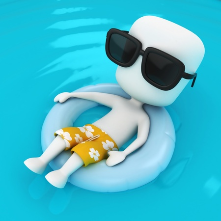 cool down: 3D Illustration of a Man relaxing on a Flotation Device