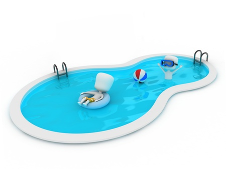 3D Illustration of Kids in the Pool illustration