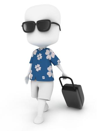 vacancier: Illustration 3D d'un homme voyageant en tenue d'�t�