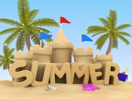 3D Illustration of Summer Text made of Sand Stock Illustration - 9648916