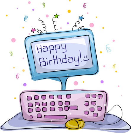 Illustration of a Birthday Cake with a Computer Theme illustration