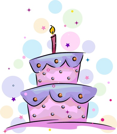 Illustration of a Birthday Cake with a Candle on Top Stock Illustration - 9670303