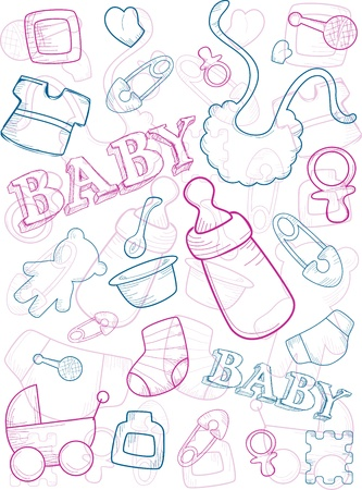 Background Illustration of Baby Related Items illustration