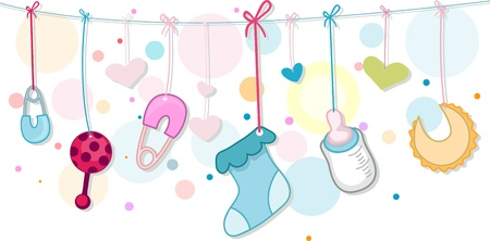 Illustration of Baby Related Items illustration