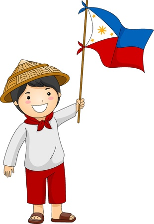 philippine: Illustration of a Filipino Kid Holding the Philippine Flag