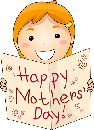 mothers day: Illustration of a Kid Flashing a Mothers Day Greeting