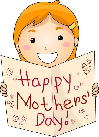 """dzień matki: Ilustracja Kid Flashing powitanie dla DzieÅ"""" Matki Zdjęcie Seryjne"""