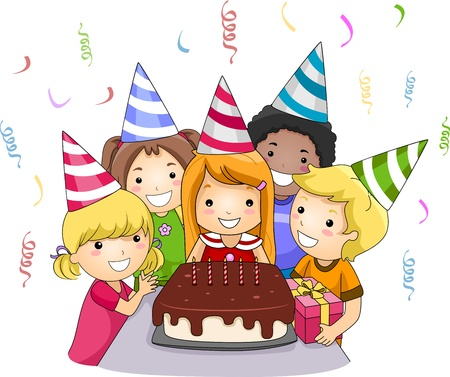 Illustration of a Birthday Celebrant About to Blow Her Birthday Candles Stock Illustration - 9670352