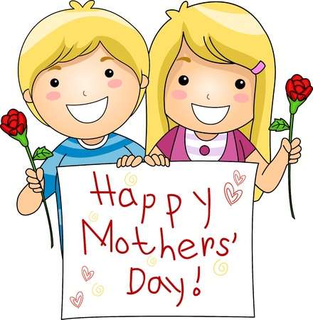 Mothers day: Illustration of Kids Flashing a Mothers Day Greeting