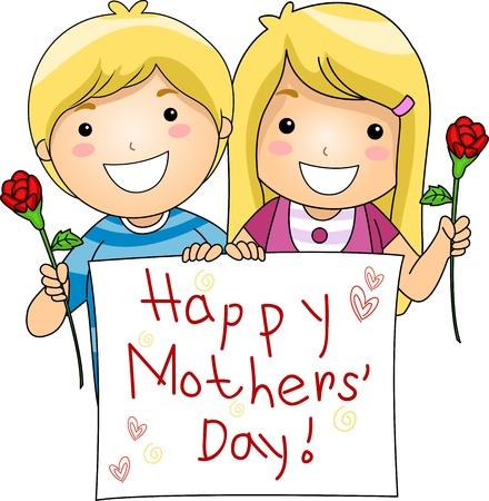 """dzień matki: Ilustracja Kids Miga Powitanie Matki DzieÅ"""""""