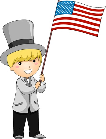 Illustration of a Kid Waving a US Flag illustration