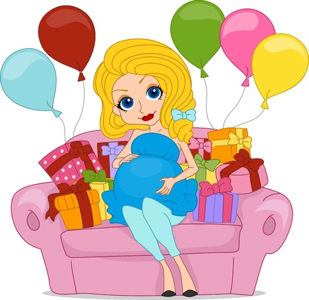 foxy: Illustration of a Pregnant Woman Surrounded with Gifts Stock Photo