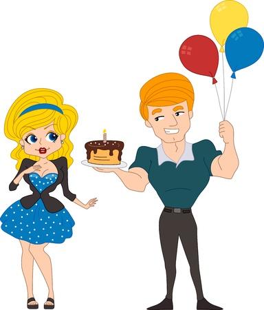 foxy girls: Illustrazione di un ragazzo consegna una torta a una ragazza