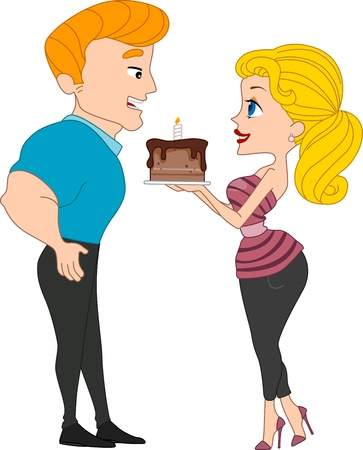 bombshell: Illustration of a Girl Handing a Birthday Cake to a Guy