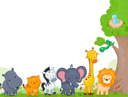Illustration of Different Jungle Animals for Background Stock Illustration - 9670314