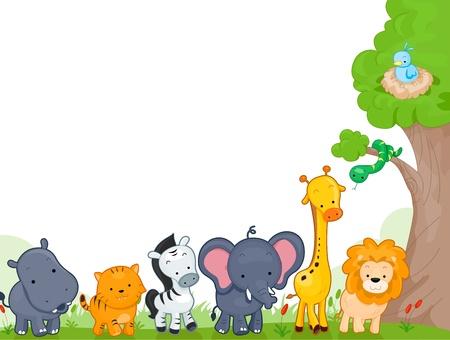 serpiente caricatura: Ilustraci�n de diferentes animales de la selva para fondo