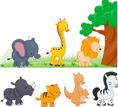 Ilustraci�n de animales caminando por Foto de archivo - 9670345