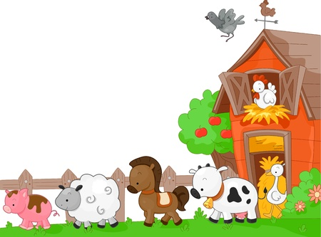 farm animals: Illustration of Farm Animals walking to the left